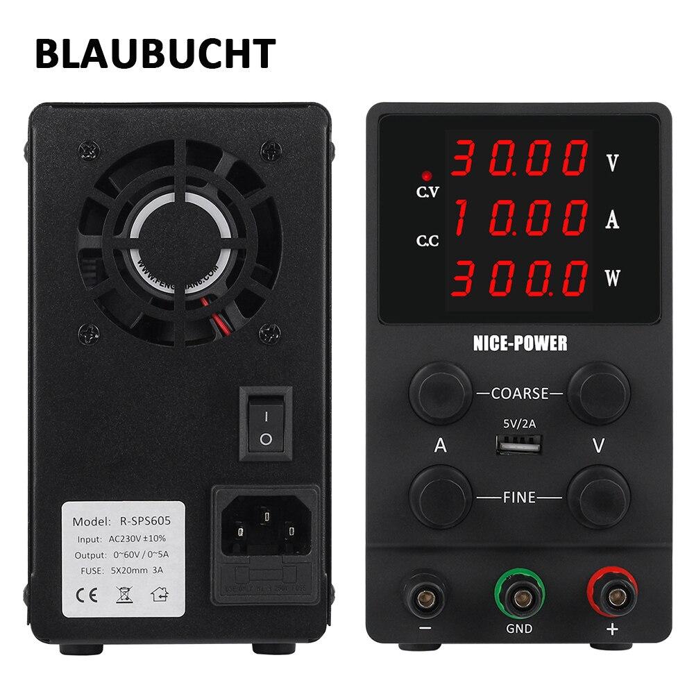 BLAUBUCHT 4 Digits Lab Switching Power Supply Adjustable 30V 10A 60V 5A Voltage Regulator DC laboratory Power Source 120V 3A
